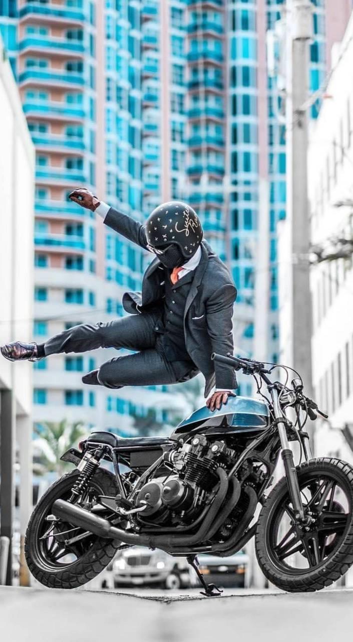 Biker pose