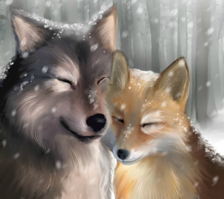 Лиса и волк в картинках