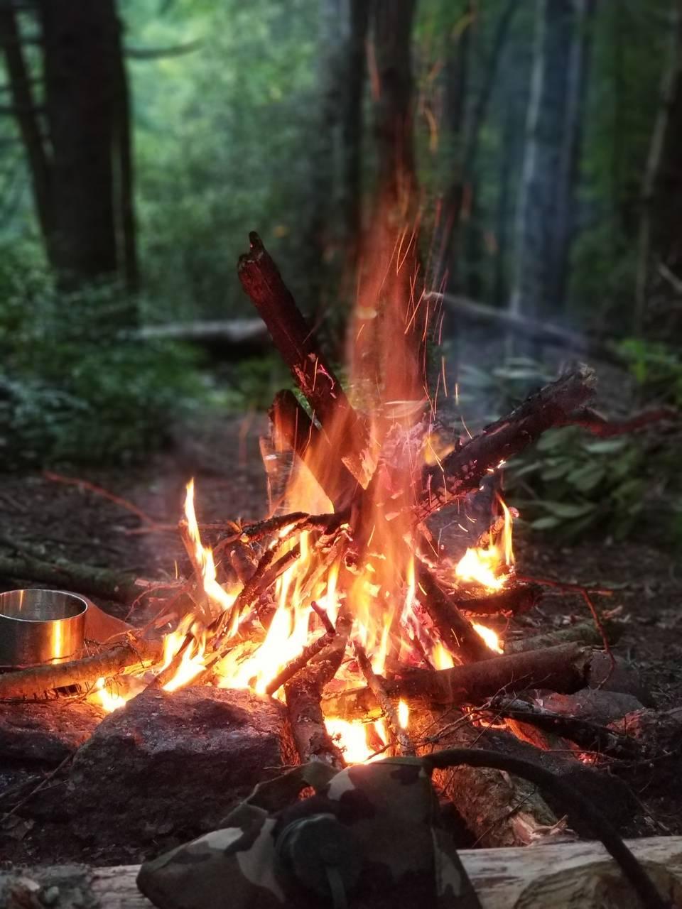 Hiking campfire