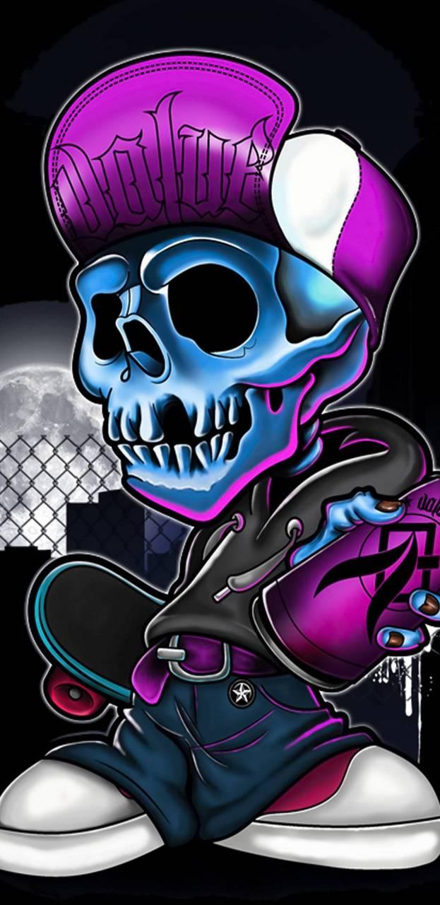 Neon skull head
