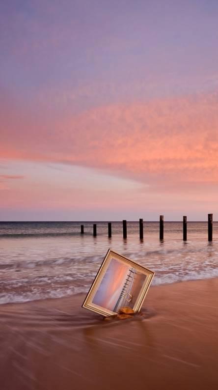 Frame on beach