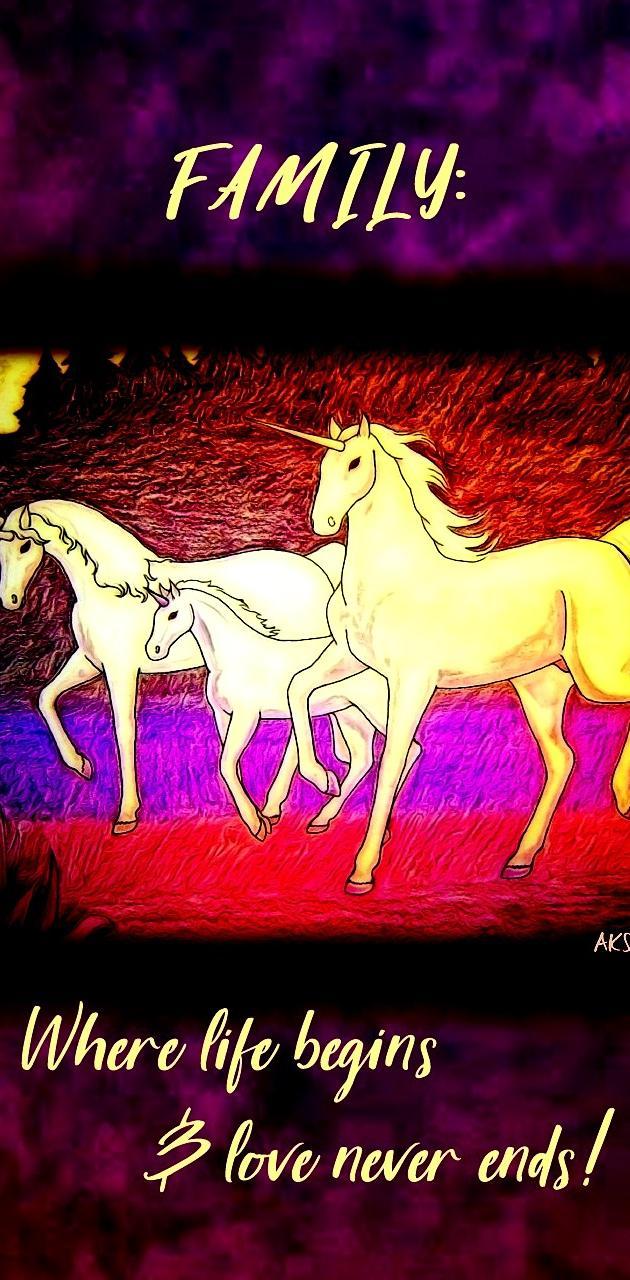Unicorns Family art
