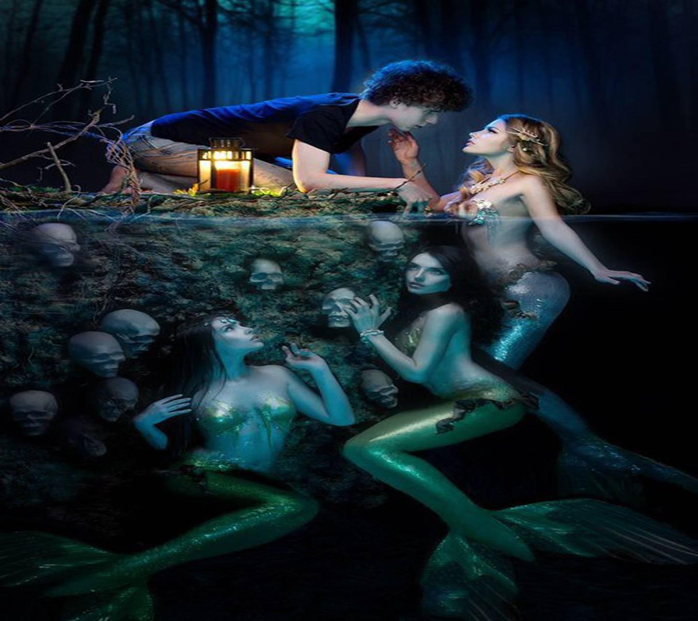 Guy kissing naked mermaid, busty vagina nude latina
