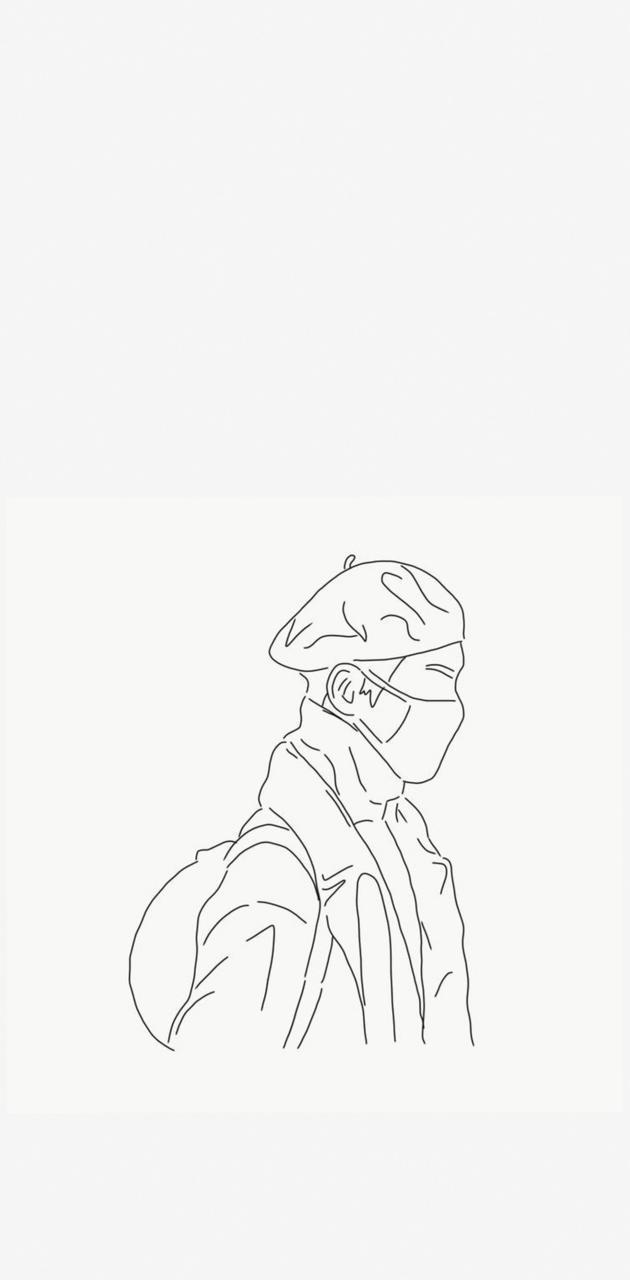 minimal V drawing