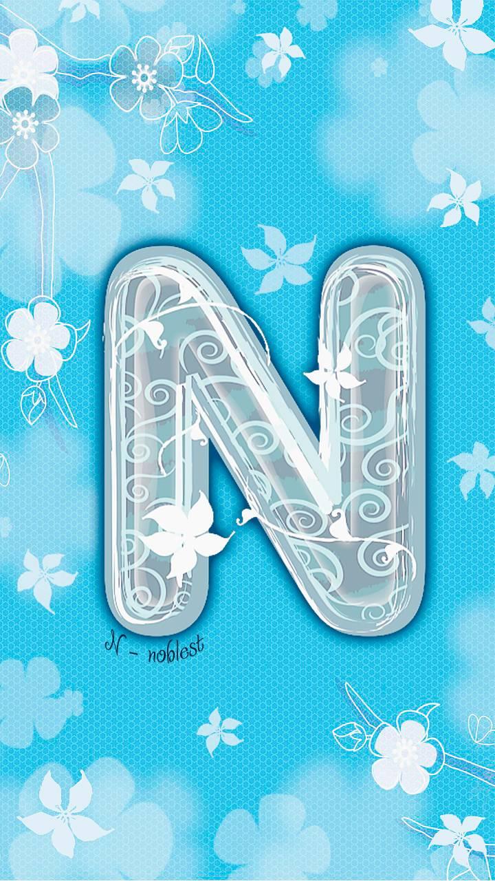 letter N blue floral