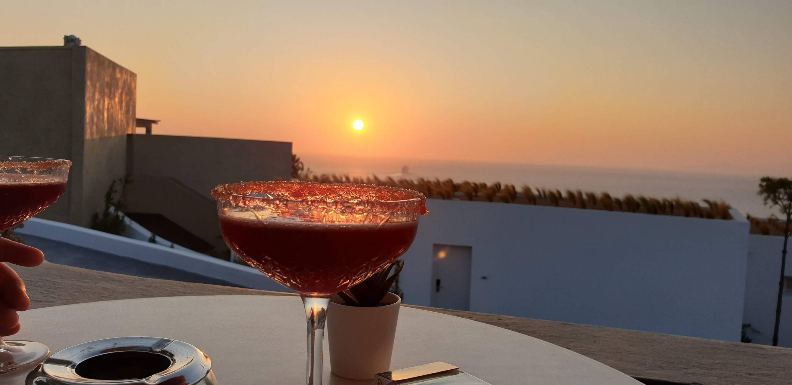 Cocktails in sunset