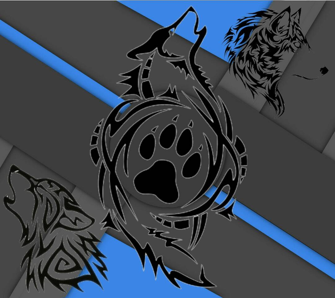wolf tribal azul
