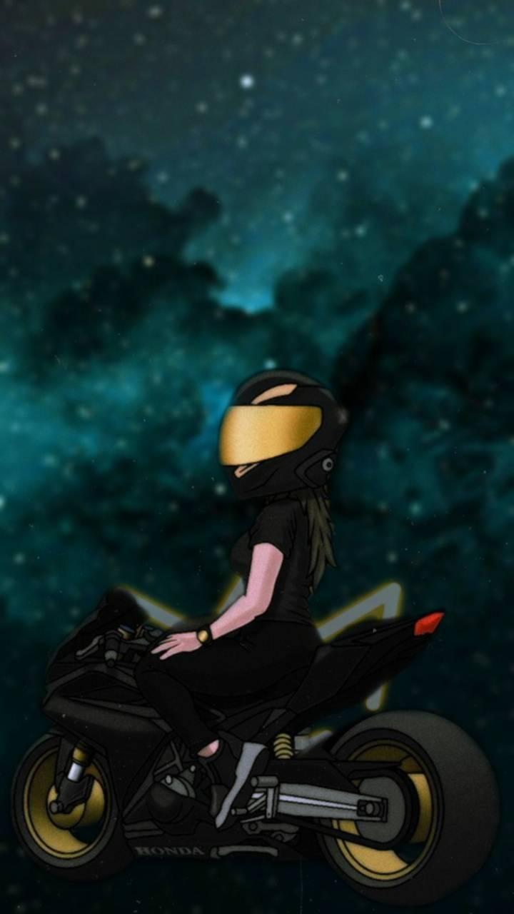 Girl motorbike