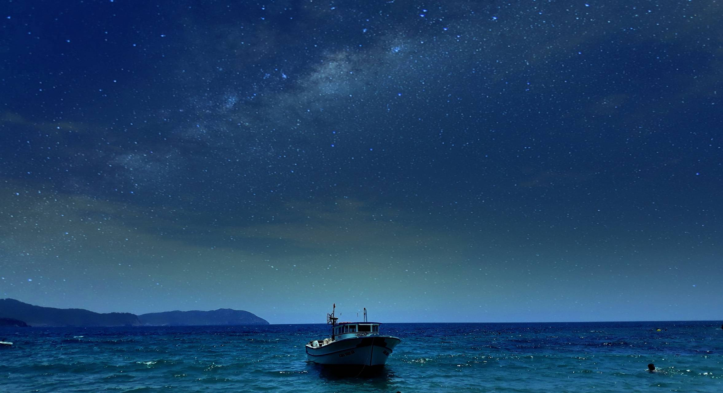 yacht with stars