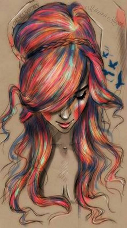 drawing art sad girl
