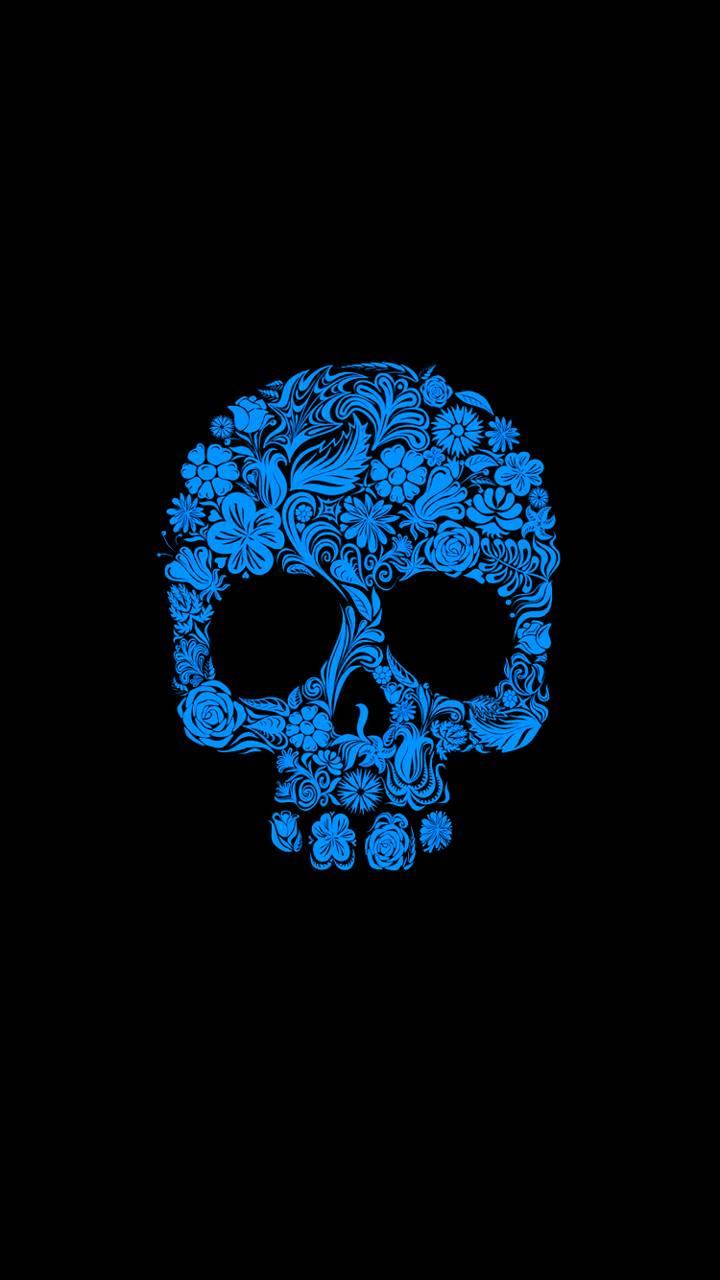 Blue Folwer Skull