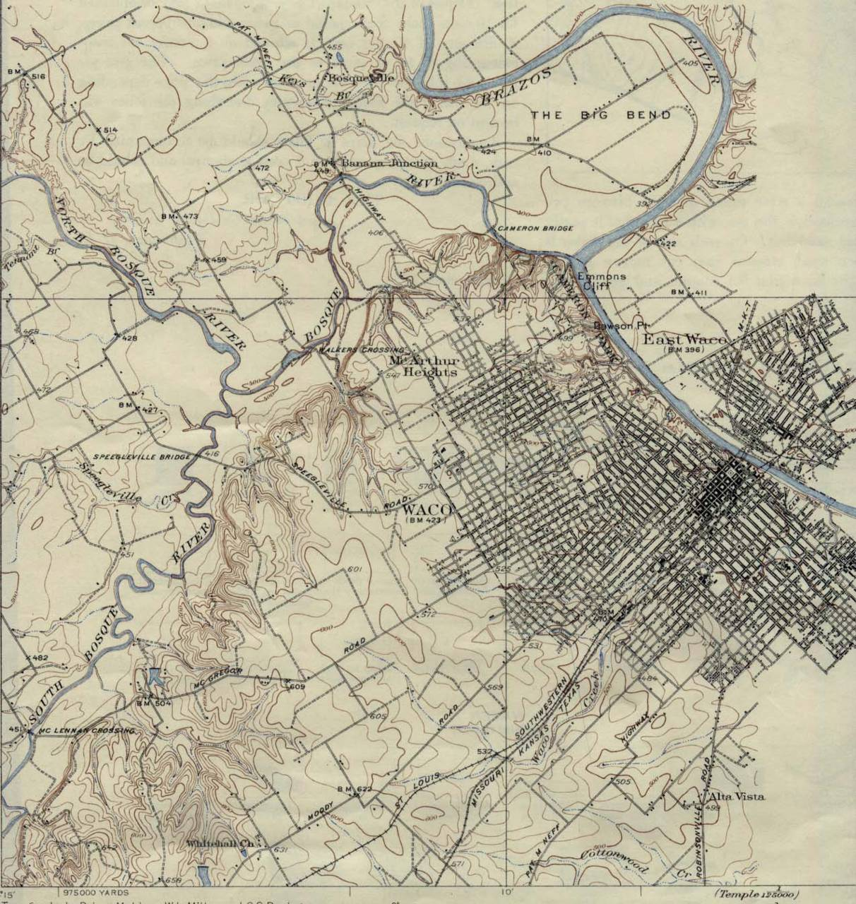 Waco Texas Map 1931