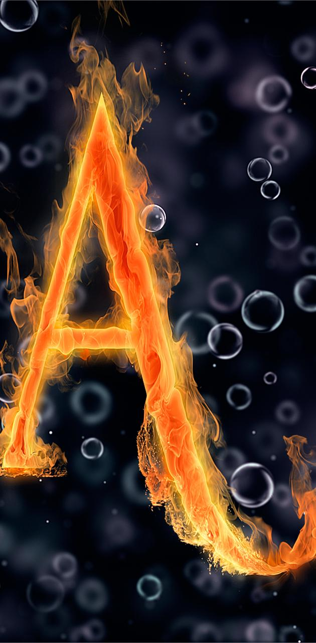 letter A under water