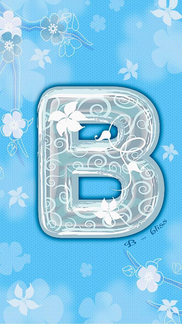 letter B blue floral