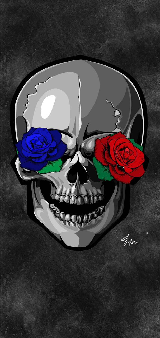 Skull With Rose Eyes