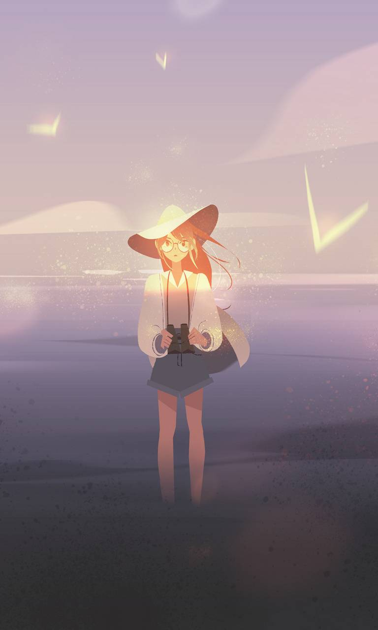 sunset girl minimal