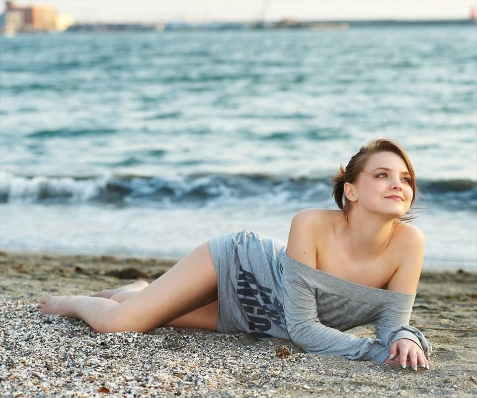 Cute Girl On Beach