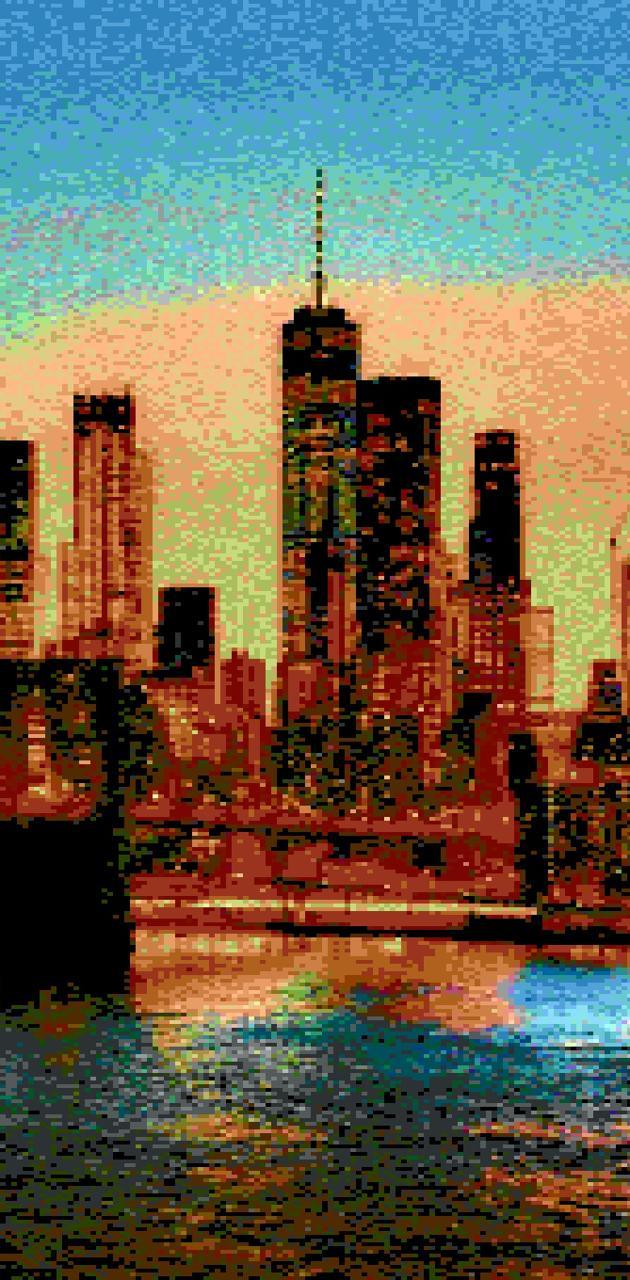 8bit newYork skyline