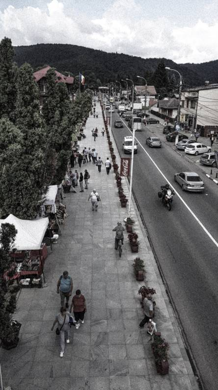 People and cars