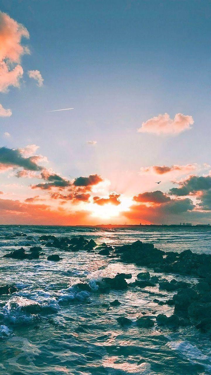 Sky and beach rocks