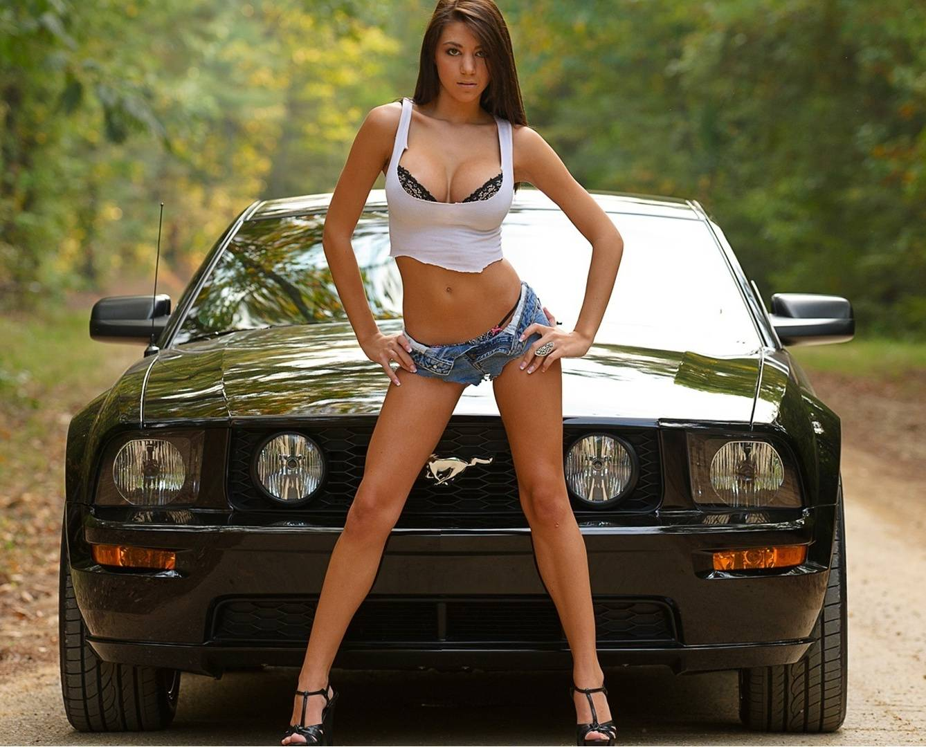 Girl With Mustang