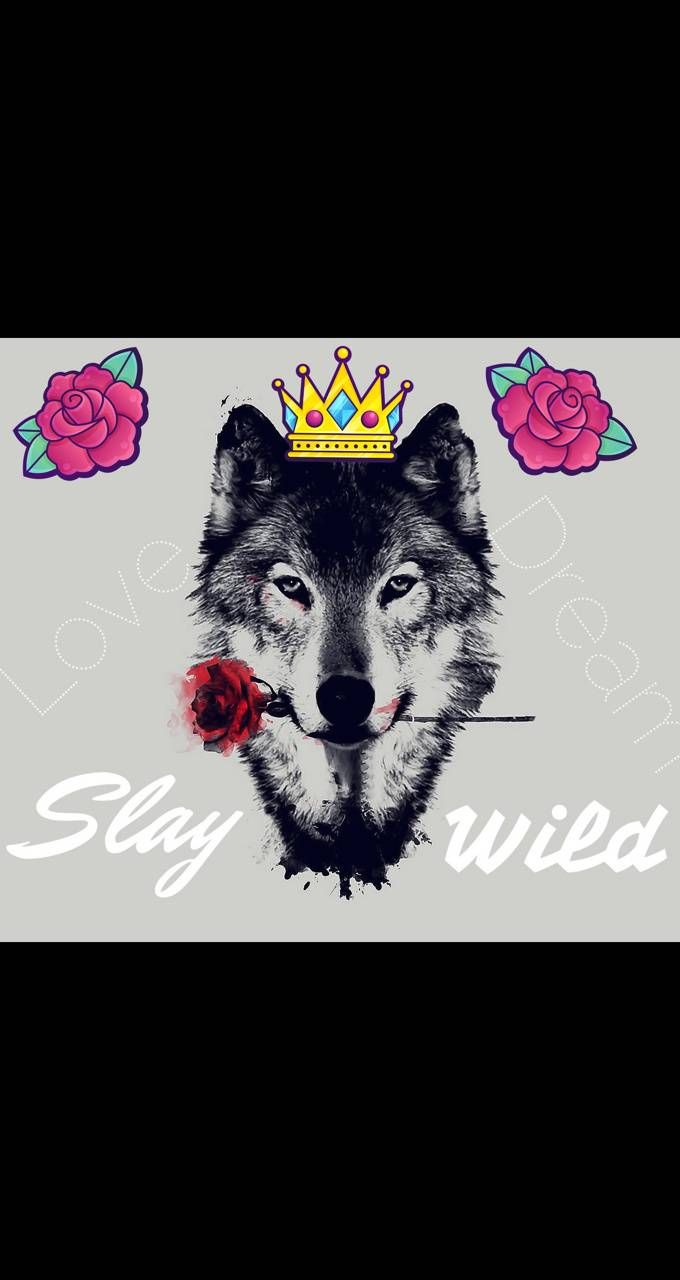 Wolf with roses