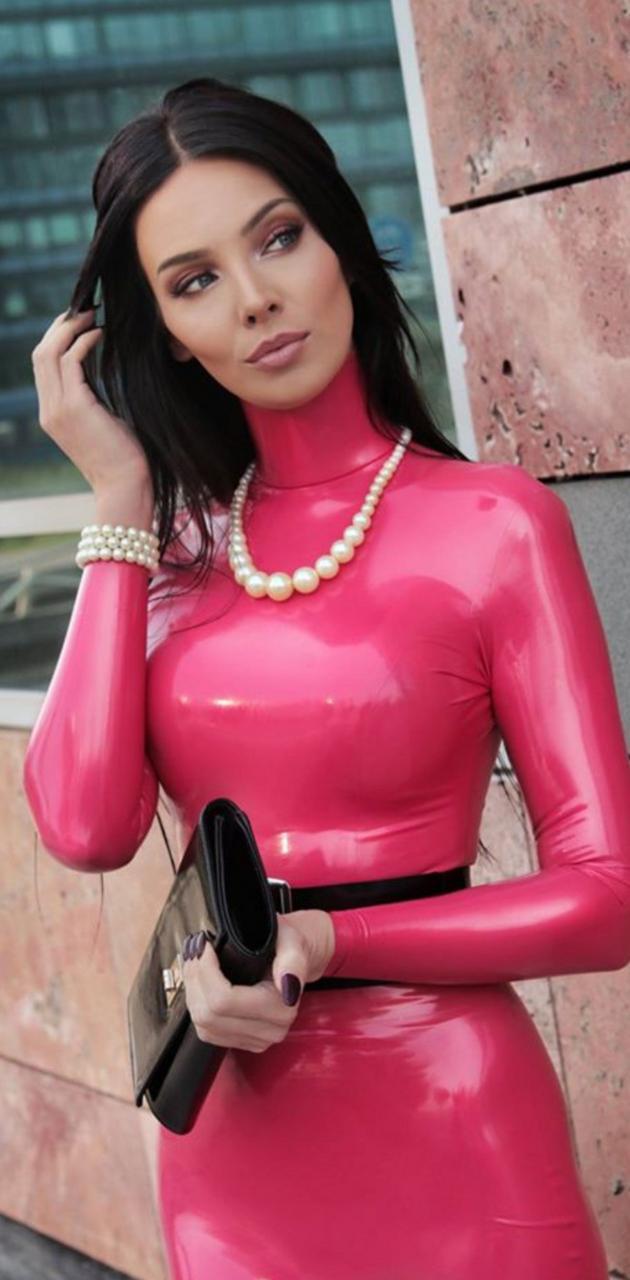 Pink latex dress