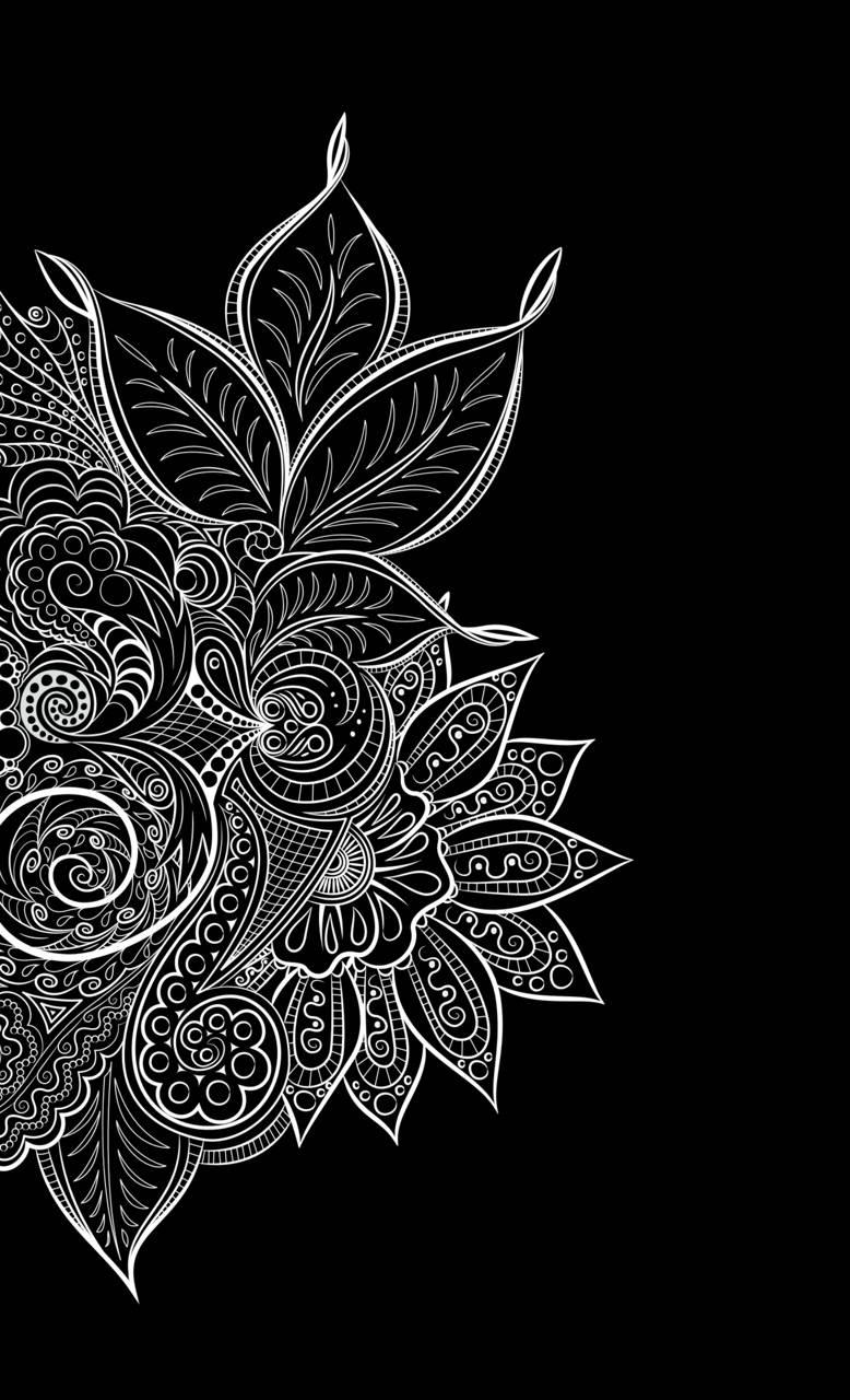 Henna Wallpaper Black And White