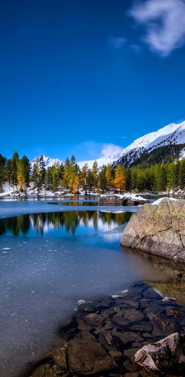 Snow lakes rocks