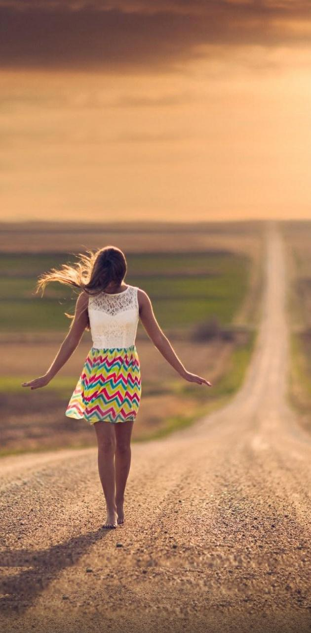 girl road dress mood