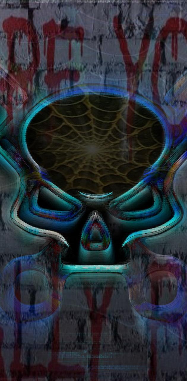 Neon mech skull