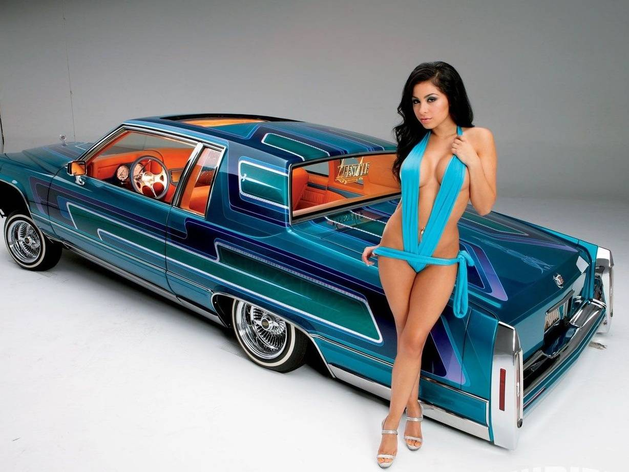 Naked girls and lowrider cars #7