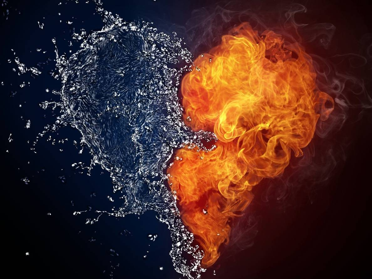 Water And Fire Heart