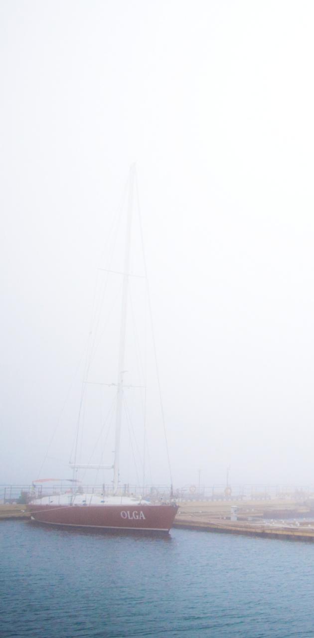 yacht in the fog