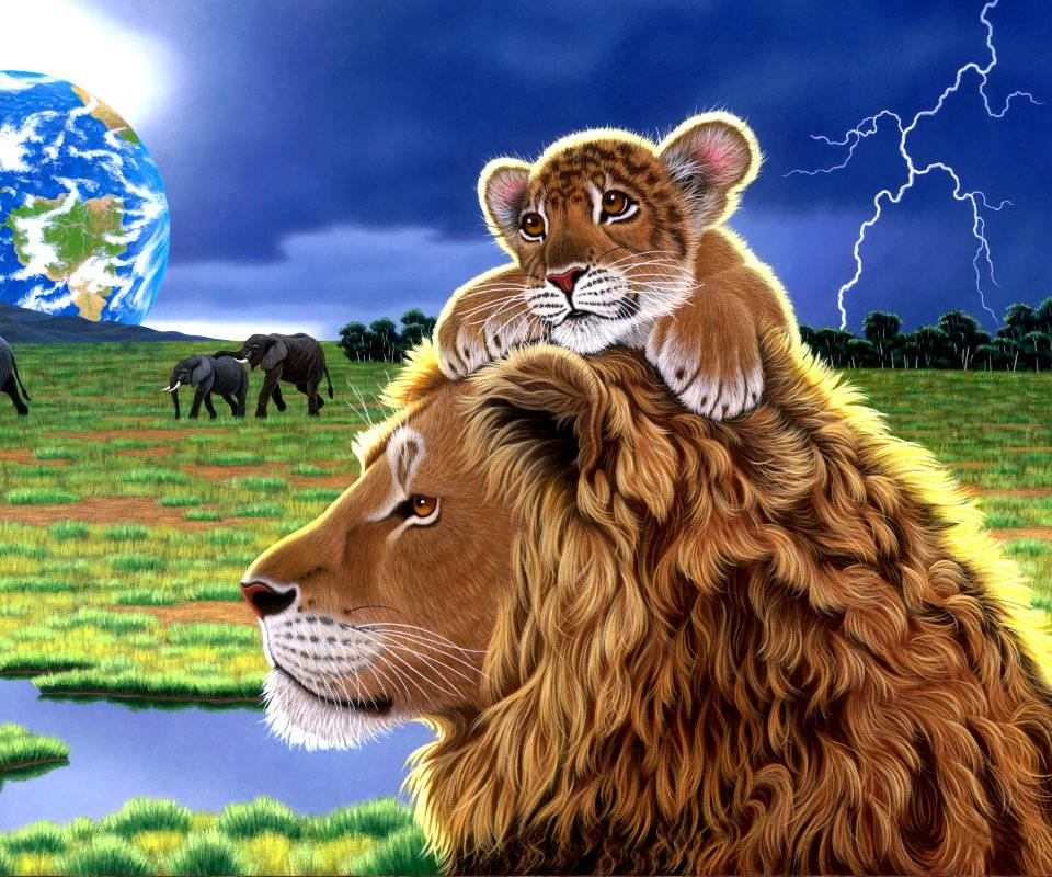 Lion Earth Elephants