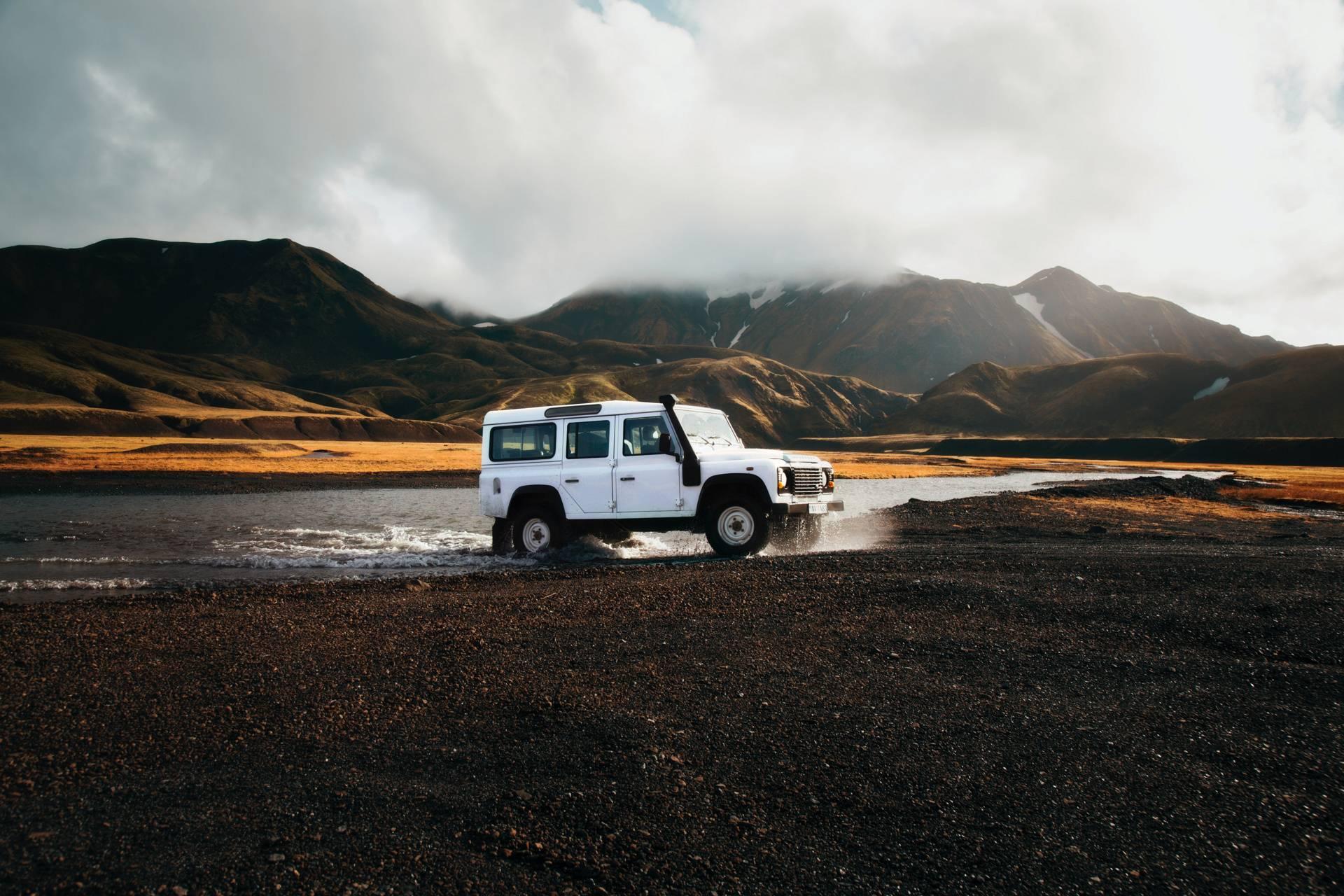 Jeep on lake