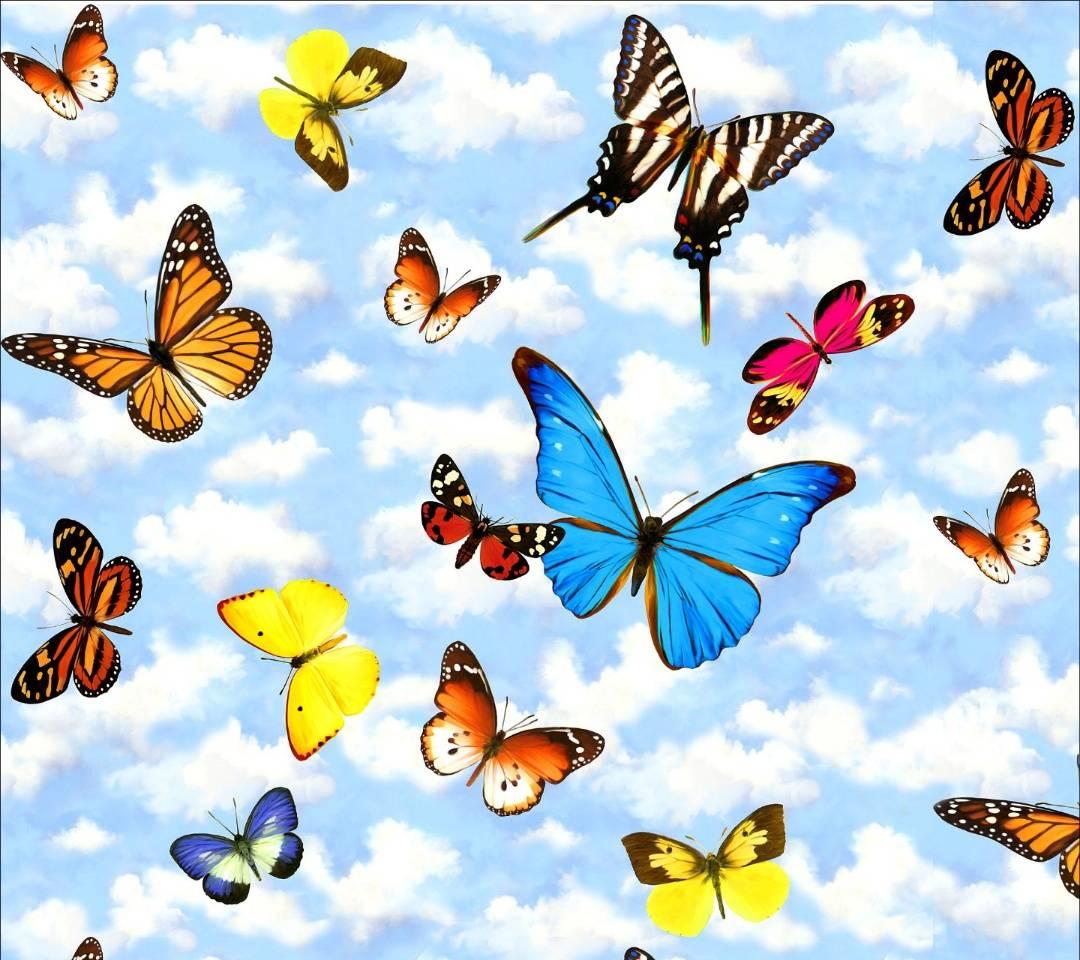 Открытка много бабочек, надписями рождеством