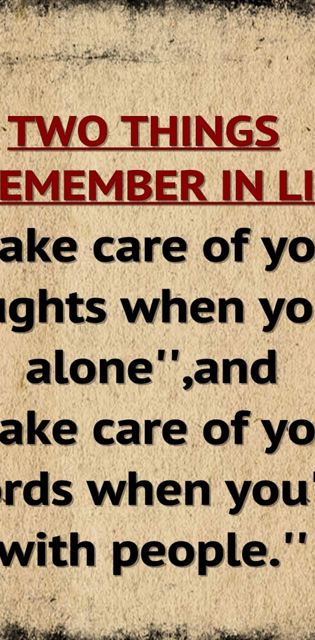 remember in life