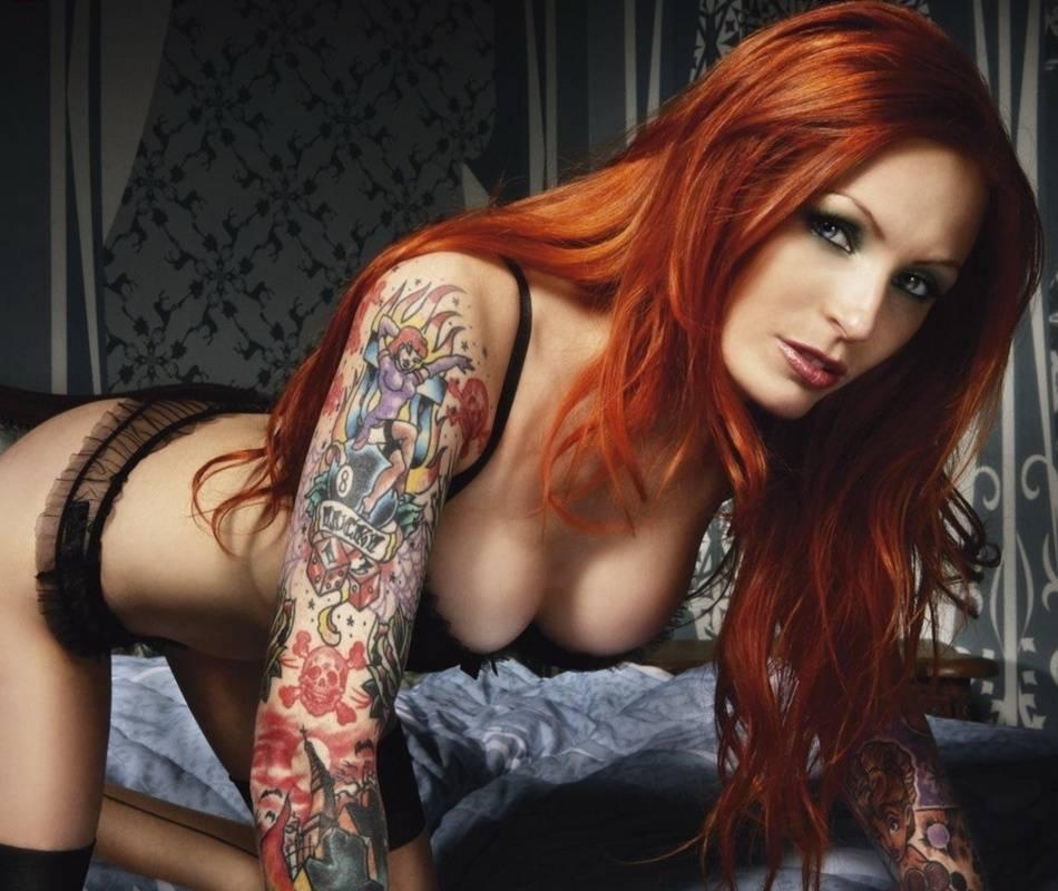Women Redhead Couch Kneeling Heels Tattoo Xfantasy 1