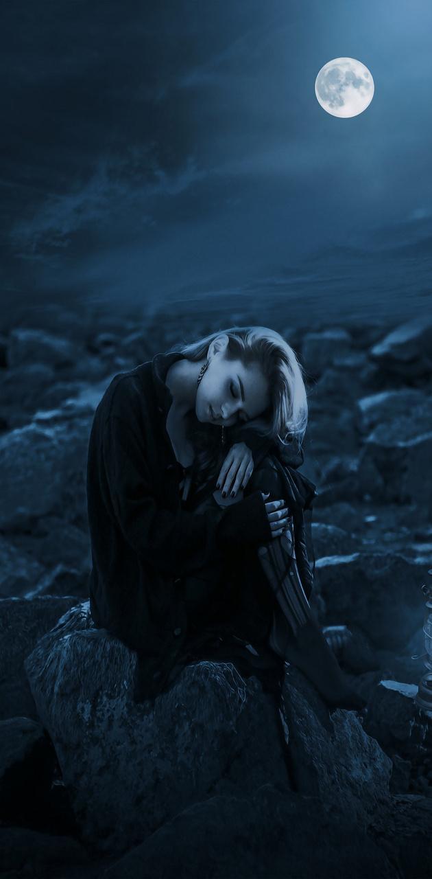 Girl in moonlight