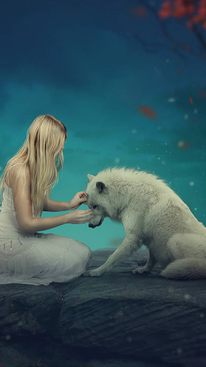 girl and a wolf