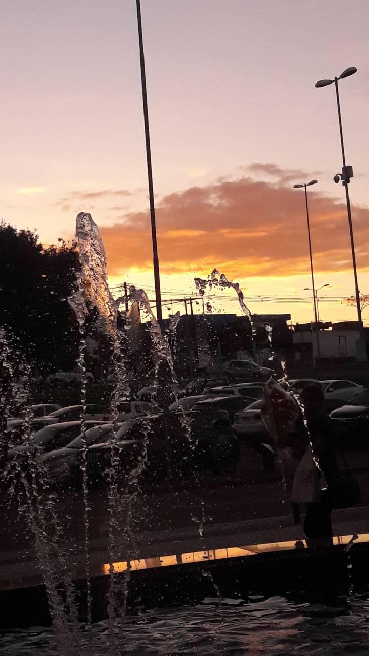 Fountain n sunset