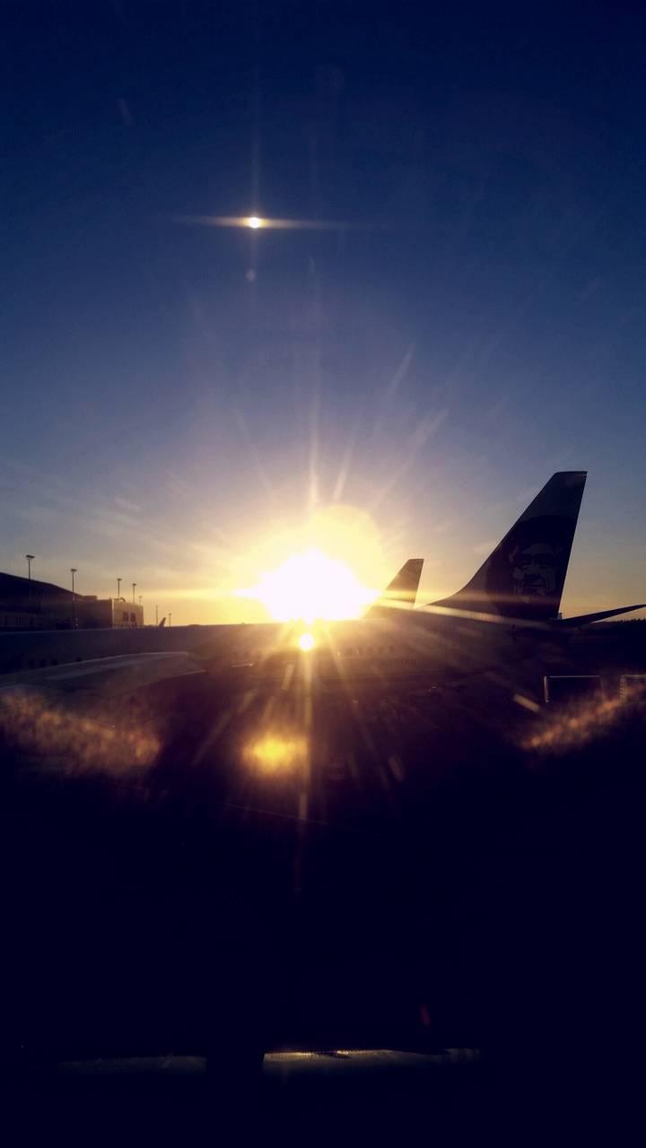 Sunset on a plane