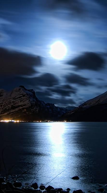 Moonlight Over City