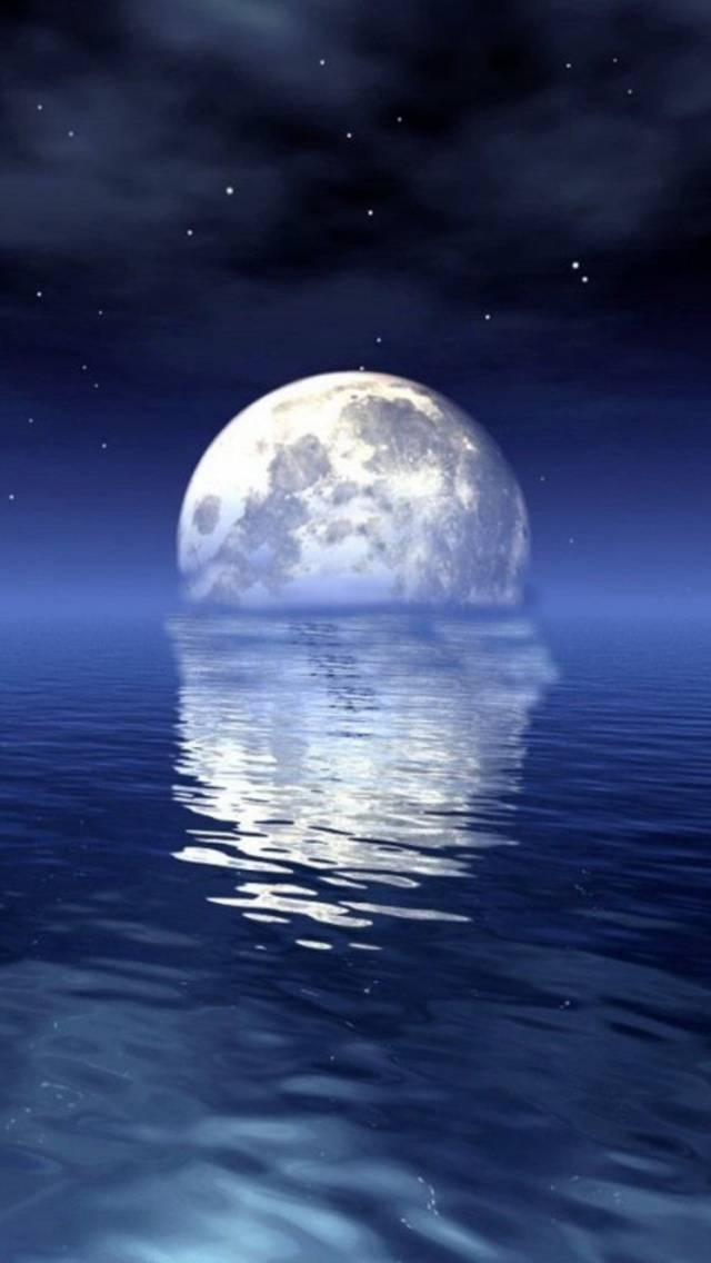 moon and seawater