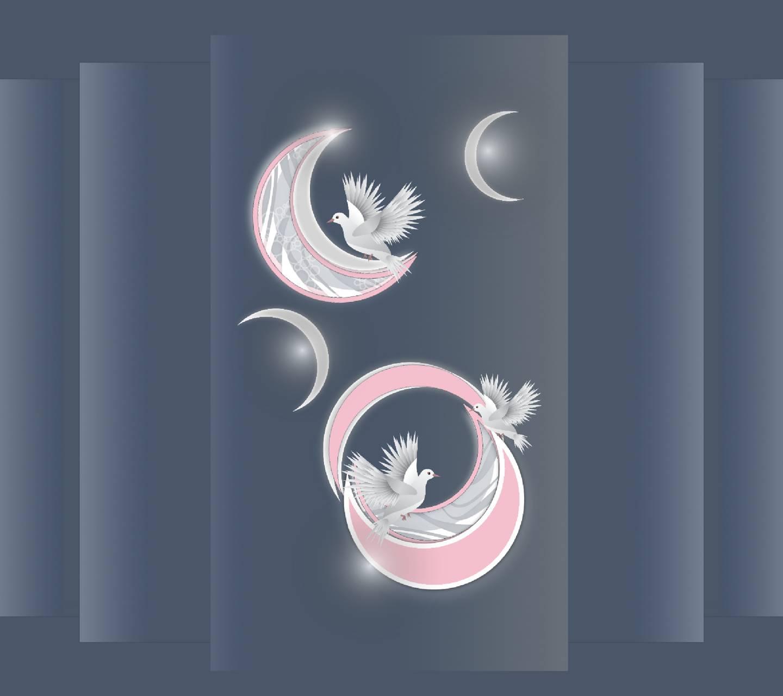 Birds cresent moon