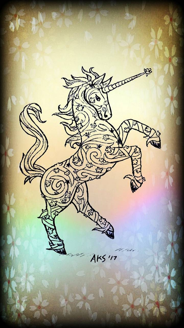 Floral Unicorn Art