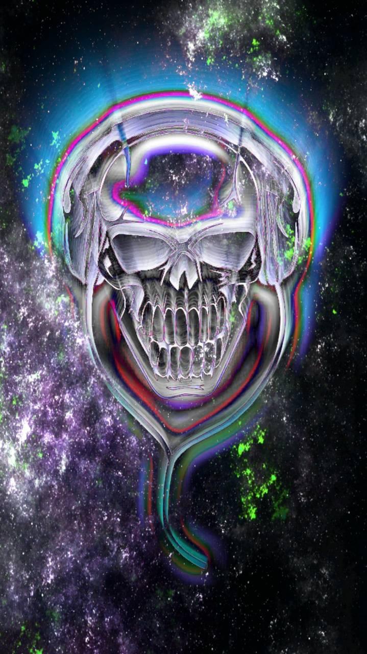 Neon music skull