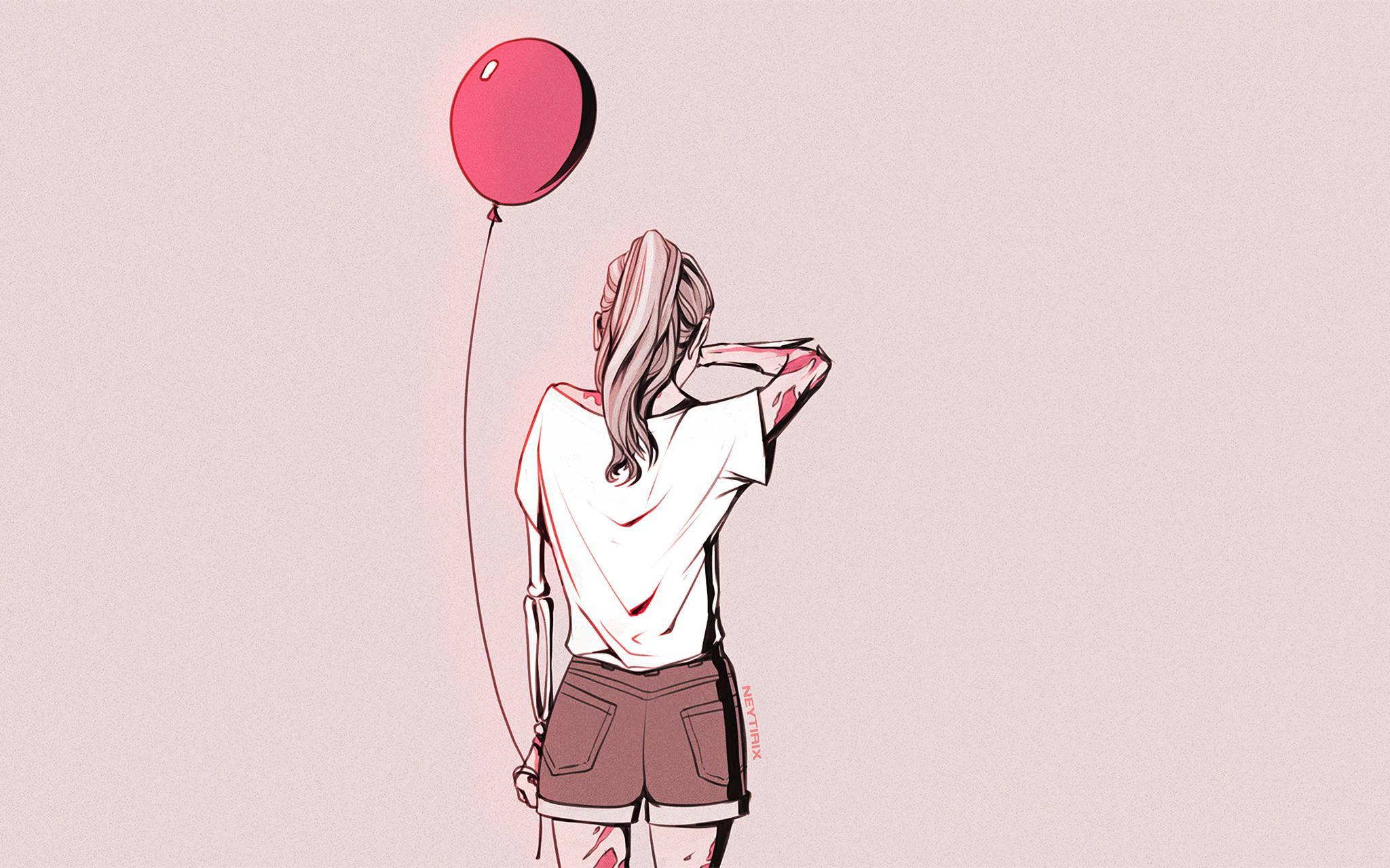 Crying Girl balloon