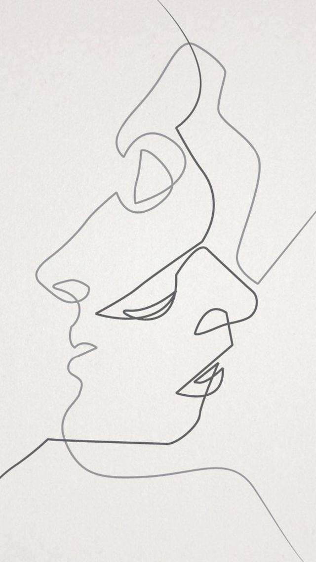 Рисунок одной линией поцелуй